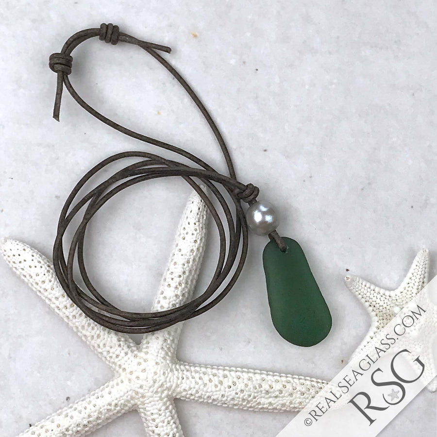 Perfect Jade Green Sea Glass Leather Necklace with Genuine Pearl