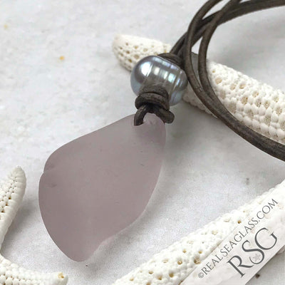 Twisty Sun Purple Sea Glass Leather Necklace with Genuine Pearl