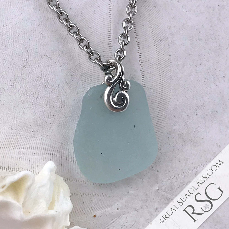 Clean Ice Aqua Ocean Waves Sea Glass Pendant