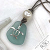 Thick Aqua Sea Glass Leather Necklace with Genuine Pearl and Sterling Sea Turtle Charm
