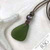 Clear Olive Green Sea Glass Leather Unisex Necklace with Genuine Pearl