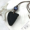 Triangle-Shaped True Black Bottle Bottom Sea Glass Leather and Genuine Pearl Surfside Unisex Necklace