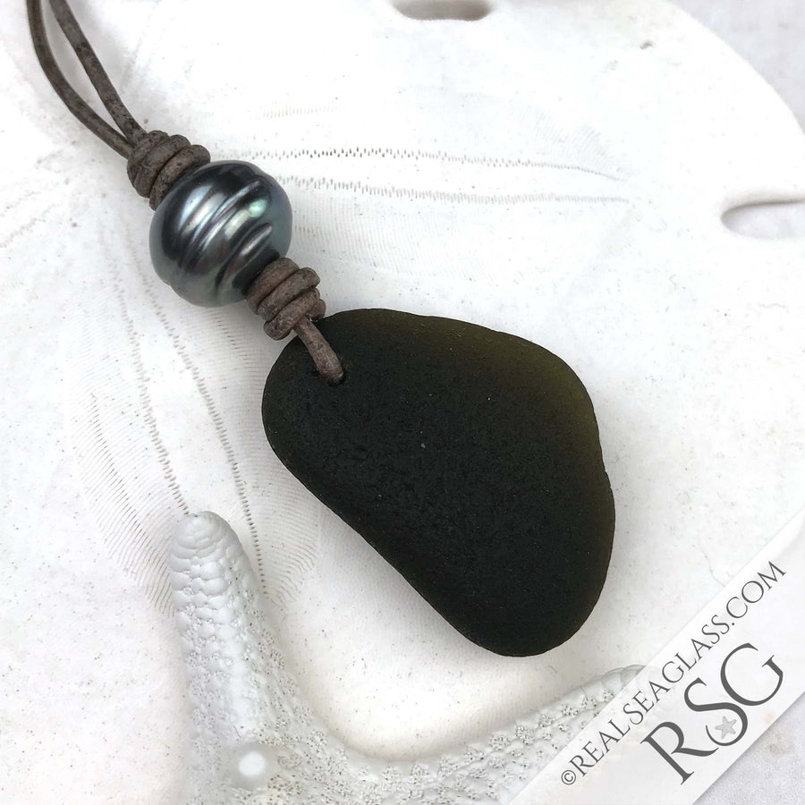 Extraordinary Black Sea Glass Leather Necklace with Genuine Pearl