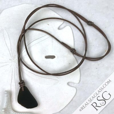 Soft Black Sea Glass Leather Unisex Necklace
