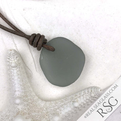 Dove Gray Green Sea Glass Leather Surfside Necklace