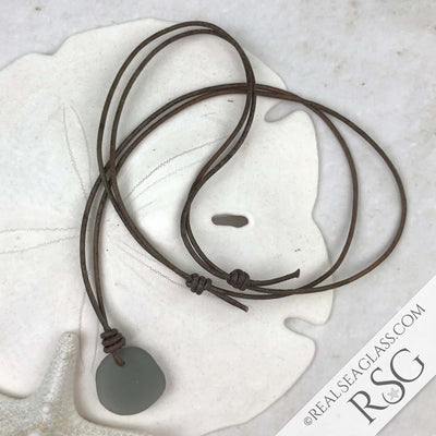 Dove Gray Green Sea Glass Leather Surfside Unisex Necklace