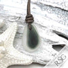 Light Gray to Smoke English Multi Sea Glass Necklace on Leather