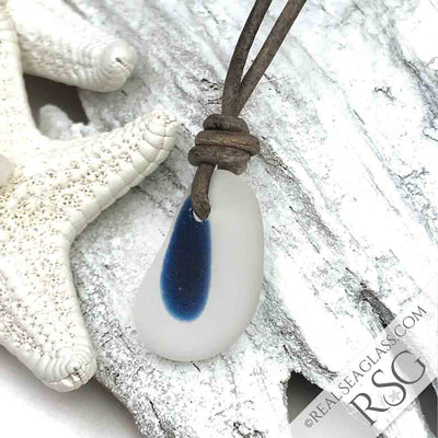 Cobalt Blue & Clear English Multi Sea Glass Necklace on Leather