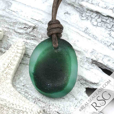 Green English Multi Sea Glass Necklace on Leather