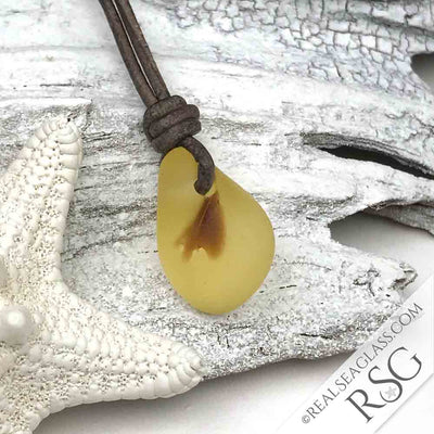 Rare True Yellow English Multi Sea Glass Necklace on Leather