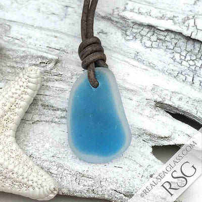 Turquoise & Clear English Multi Sea Glass Necklace on Leather