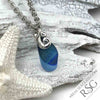 Blue English Multi Sea Glass Necklace with Sterling Silver Ocean Waves
