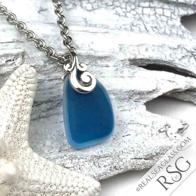 Turquoise English Multi Sea Glass Necklace with Sterling Silver Ocean Waves