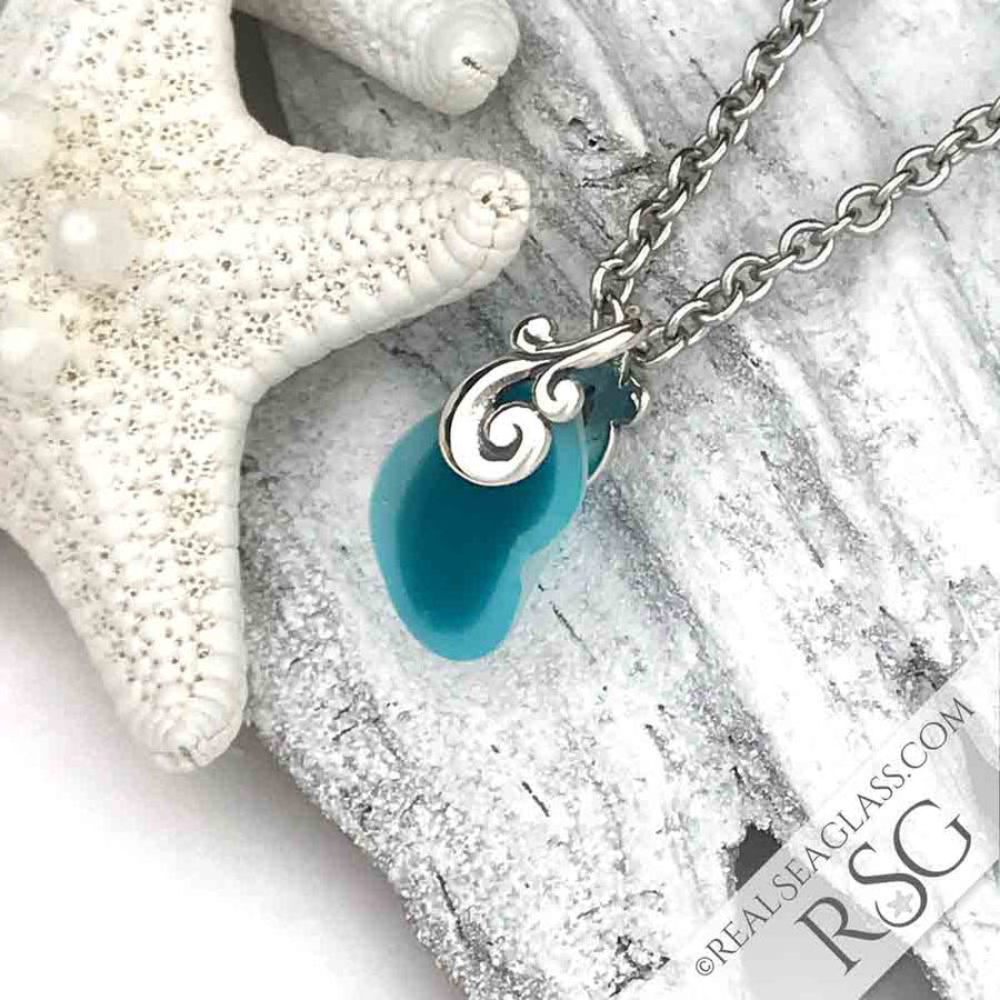 Turquoise Jelly Bean English Multi Sea Glass Necklace with Sterling Ocean Waves