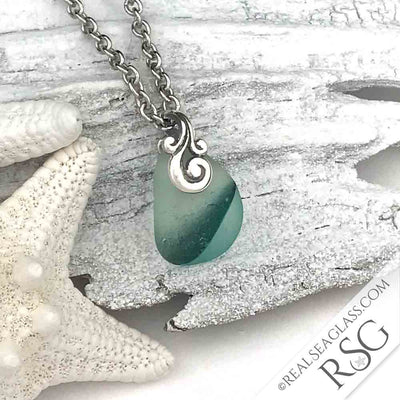 Green Striped English Multi Sea Glass Necklace with Sterling Ocean Waves