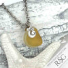 Golden Yellow Multi Sea Glass Necklace on Sterling Ocean Waves