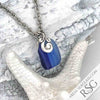 Banded Blue Multi Sea Glass Necklace on Sterling Ocean Waves