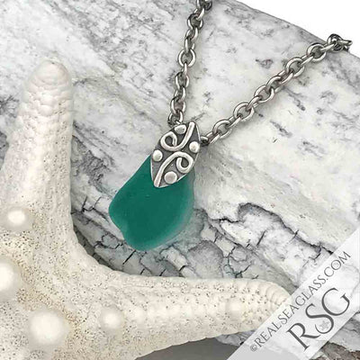 Emerald Green Multi Sea Glass Necklace on Sterling Leaf