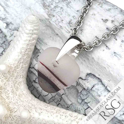 Deep Magenta Heart Shaped Pink English Multi Sea Glass Necklace - Amazing