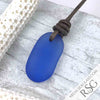 Cornflower Blue Sea Glass Leather Surfside Necklace