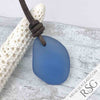 Light Cornflower Blue Sea Glass Leather Surfside Necklace