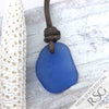 Flat, Thick Cornflower Blue Sea Glass Leather Surfside Necklace