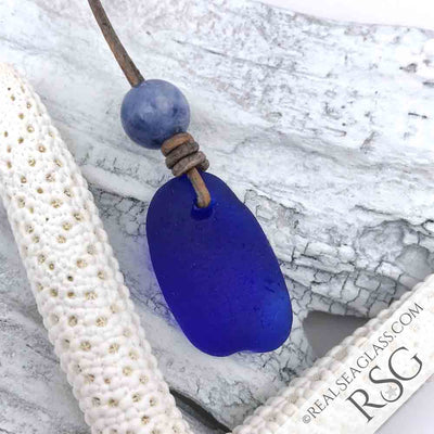Cobalt Blue Sea Glass & Sodalite Leather Surfside Necklace