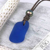 Bottle Bottom Cornflower Blue Sea Glass Leather & Pearl Surfside Necklace