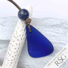 Large Cobalt Blue Sea Glass & Lapis Lazuli Leather Surfside Necklace