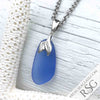 Cornflower Blue Sea Glass Necklace with Sterling Mermaid's Tail