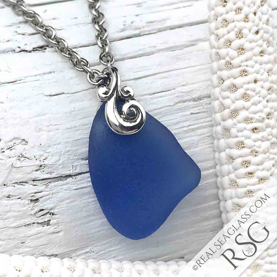 Cornflower Blue Sea Glass Bottle Bottom Necklace with Ocean Waves