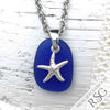 Cobalt Blue Sea Glass Pendant with Sterling Starfish Charm