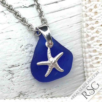 Cobalt Blue Sea Glass Necklace with Sterling Starfish Charm