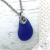 Cobalt Blue Sea Glass Necklace with Ocean Waves
