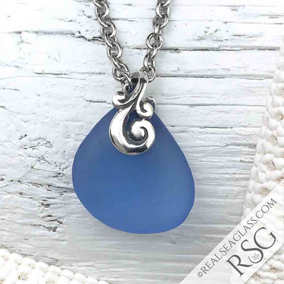 Cornflower Blue Sea Glass Necklace with Ocean Waves