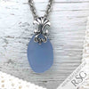 Cornflower Blue Sea Glass Necklace with Victorian Bail