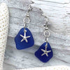 Cobalt Blue Sea Glass Earrings with Frosted Starfish Charms