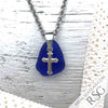 Vibrant Cobalt Blue Sea Glass Pendant with Sterling Cross Charm