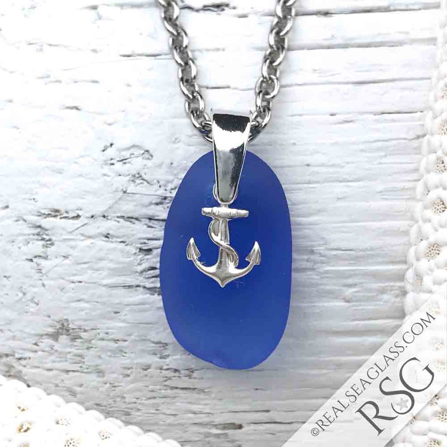 Cornflower Blue Sea Glass Necklace with Sterling Anchor Charm