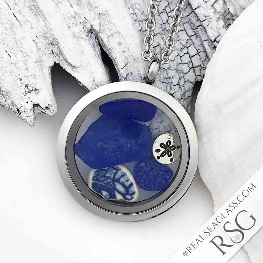 Blue & White Sea Glass Locket with Sand Dollar Charm