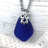 Cobalt Blue Sea Glass Necklace with Victorian Bail