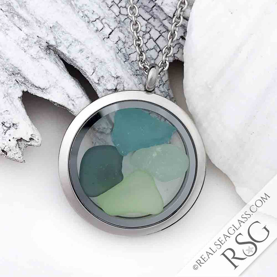 Blue Green Medley Sea Glass Locket Necklace