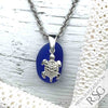 Cobalt Blue Sea Glass Bottle Bottom Necklace with Sterling Sea Turtle Charm