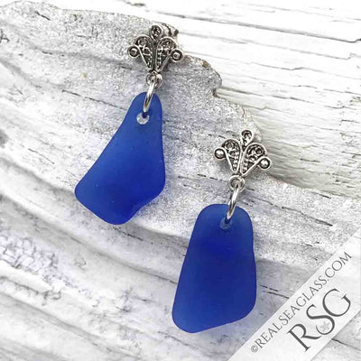 Cobalt Blue Sea Glass Earrings with Filigree Posts
