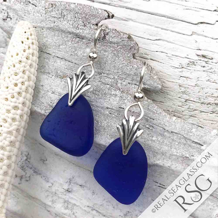 Cobalt Blue Sea Glass Earrings with Art Deco Accents