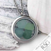 Glowing Grey Green Sea Glass Locket Necklace