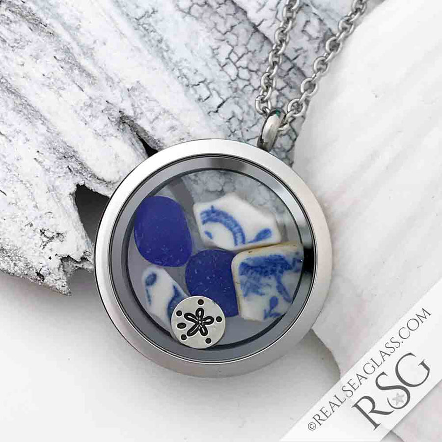 Blue & White Sea Shards Sea Glass Locket with Sand Dollar Charm