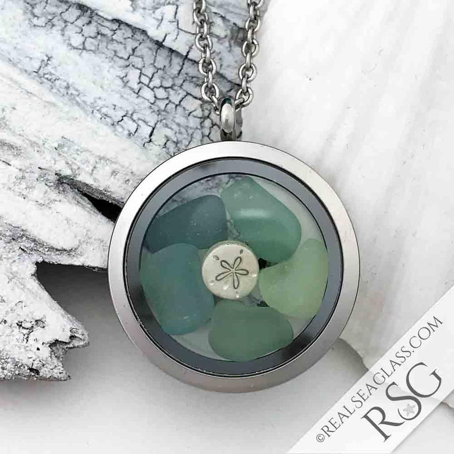 Stormy Seas Sea Glass Locket with Sand Dollar Charm