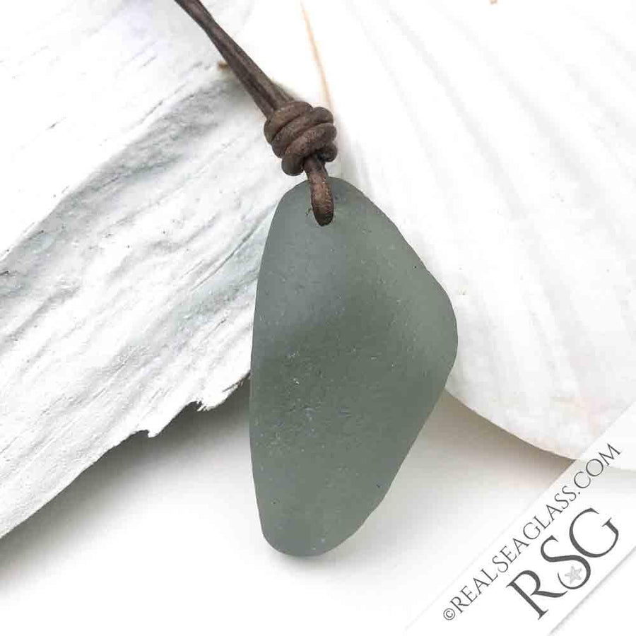 A Wedge of Gray Sea Glass Leather Necklace