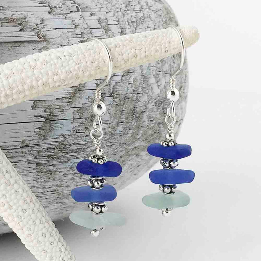 All the Blues Blue Sea Glass Sea Stack Earrings